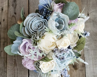 READY TO SHIP Dusty Blue, Light Lavender, and Cream Wood Flower Bouquet with Dusty Miller, Silver Dollar Eucalyptus, Bridal Bouquet