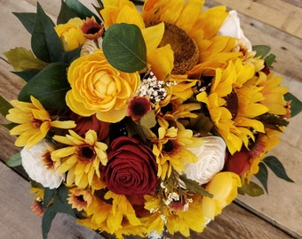 READY TO SHIP Sunflower Bouquet with Wood Flowers in Burgundy and Cream with Silk Sunflowers