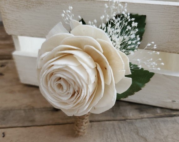 Wood Flower Boutonniere with Babies Breath