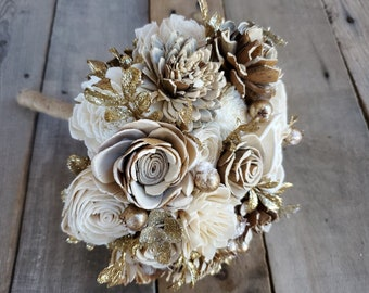 READY TO SHIP Gold Glitter Bouquet with Bark and Cream Flowers for bride or bridesmaid
