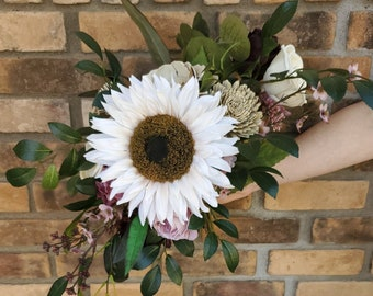 READY TO SHIP Sunflower and Wood Flower Bouquet with Eucalyptus, Bridal Bouquet Summer Wedding, Fall Wedding, Bridesmaid, Cream Sunflower