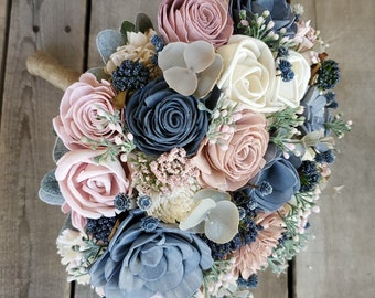 Wood Flower Bouquet with Slate Blue, Blush Pink, and Cream Flowers, Eucalyptus, Dusty Miller, and Lambs Ear, bridal bouquet, bridesmaid
