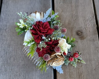 Christmas Inspired Wood Flower Bridal Hair Comb with Burgundy, Cream and Bark Flowers, Hair Comb for Winter Wedding, Bridal Up-Do Hair Comb
