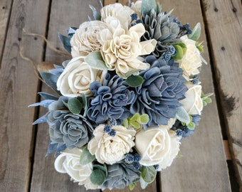 Slate Blue, Gray, and Cream Wood Flower Bouquet with Eucalyptus, bridal bouquet, bridesmaid bouquet, flower girl bouquet