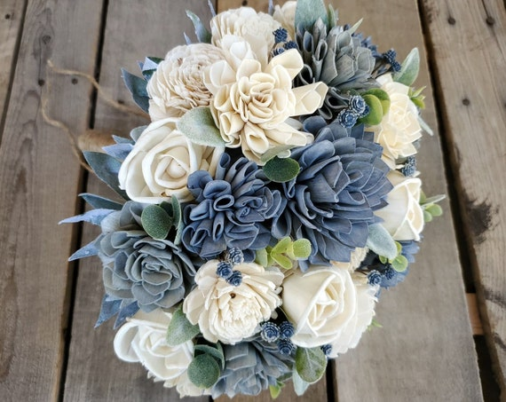 READY TO SHIP Slate Blue, Gray, and Cream Wood Flower Bouquet