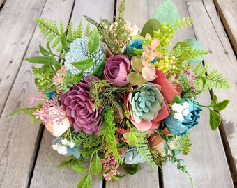 READY TO SHIP Desert Inspired Succulent and Wood Flower Bouquet in Peach, Coral, Dark Teal, and Fuchsia, Bridal Bouquet, Eucalyptus, Fern