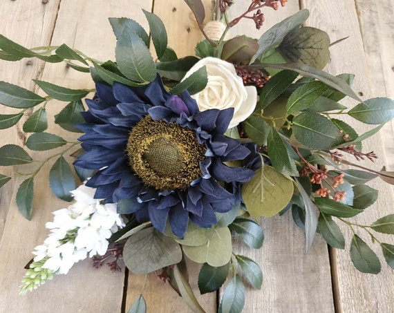 READY TO SHIP Navy Sunflower with Navy and Cream Wood Flowers