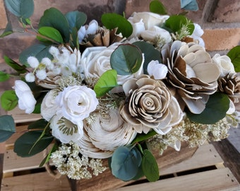 READY TO SHIP Wood Flower Centerpiece Box in Natural Cream and Bark, Silk Cream Flowers, and Silver Dollar Eucalyptus