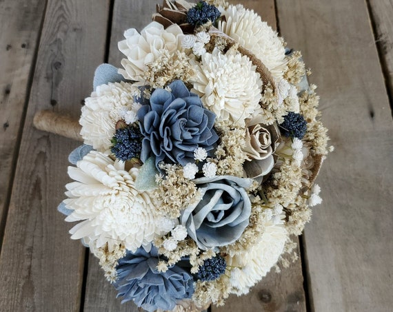 READY TO SHIP Country Rustic Wood Flower Bouquet with Slate Blue, Gray and Cream Wood Flowers