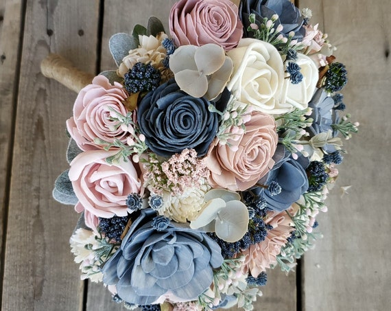 READY TO SHIP Wood Flower Bouquet with Slate Blue, Blush Pink, and Cream Flowers
