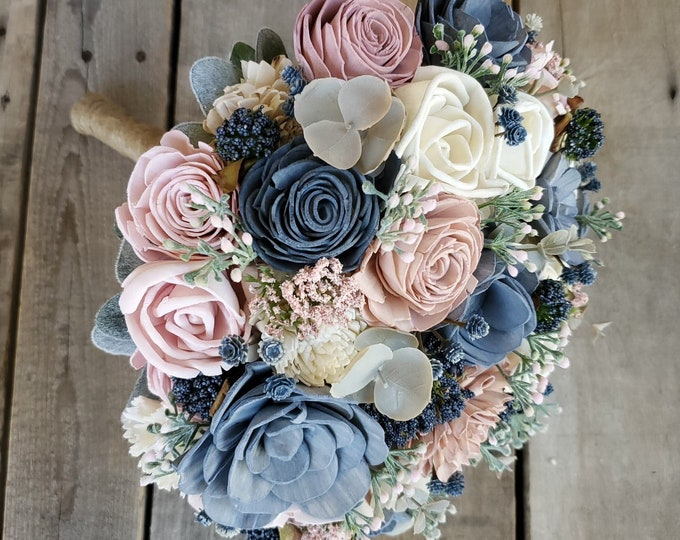 Featured listing image: READY TO SHIP Wood Flower Bouquet with Slate Blue, Blush Pink, and Cream Flowers