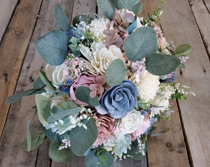 Featured listing image: Slate Blue Blush Pink and Cream Wood Flower Bouquet with Silver Dollar Eucalyptus