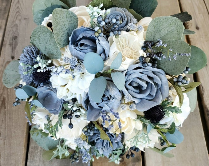 Featured listing image: Premium Slate Blue and Cream Wood Flower Bouquet with Hydrangea, Silver Dollar Eucalyptus, Blue Eucalyptus, Dusty Miller, Navy Thistle