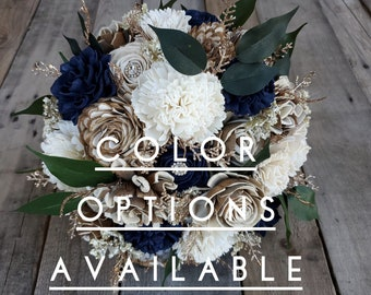 Rustic Glam Wood Flower Bouquet with Rhinestones and Copper Glitter, mulitple color options available, Bridal Bouquet, Bridesmaid Bouquet