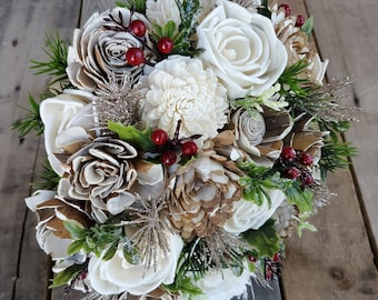 Christmas Inspired Wood Flower Bouquet with Cream and Bark Flowers, Holly, Red Berries, and Gold Glitter, bridal bouquet, bridesmaid
