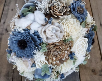 READY TO SHIP Rustic Slate Blue and Cream Wood Flower Bouquet with Burlap and Cotton Puffs