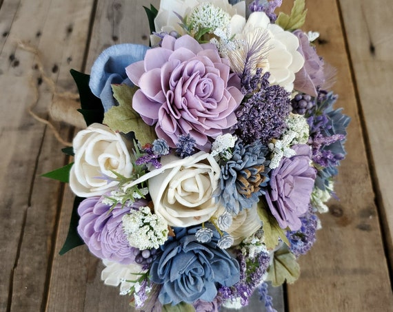 READY TO SHIP Lavender and Slate Blue Wood Flower Bouquet