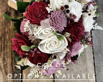Wood Flower Bouquet with Color Options and Gold Glitter