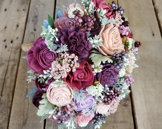 READY TO SHIP Garden Inspired Wood Flower Bouquet