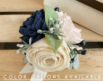 Wood Flower Wrist Corsage with Color Options