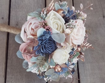 Sola Wood Flowers Wood Flower Bouquet Slate Blue and Blush Wedding Rose Gold Wedding Bridal Bouquet Wood Bouquet Bridal Flowers Dusty Blue