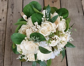 READY TO SHIP Premium Cream Wood Flower Bouquet with Gold Brooches, Hydrangea, Silver Dollar Eucalyptus, Thistle, Caspia, Baby's Breath