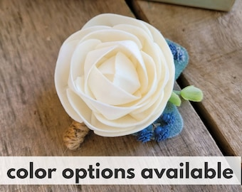 Wood Flower Boutonniere with Lambs Ear Leave, Baby's Breath, and Eucalyptus, Groom, Groomsmen, Lapel Pin, Pinned Flower for Wedding