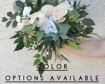 Natural Style Premium Wood Flower Bridal Bouquet with Silk Flower Hydrangea, Cream Flowers, Color Options, Silver Dollar Eucalyptus, Bride