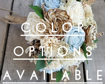 Rustic Glam Wood Flower Bridesmaid Bouquet with Copper Glitter, multiple colors available