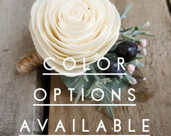Groom Boutonniere Wood Flower Boutonniere Multiple Colors Available Sola Wood Flowers Eucalyptus Wedding Flower Boutonniere
