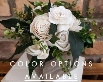 Wood Flower Floral Arrangement, Table Centerpiece