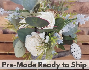 Cream and Raw Wood Rustic Wood Flower Floral Arrangement, Sola Flower Arrangement, Table Centerpiece, Mother's Day, Get Well