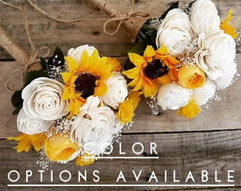 Wood Flower Bouquet with Sunflowers and Baby's Breath, mulitple colors available