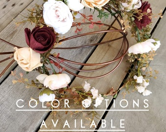 Upgraded Flower Crown with Wood Flowers and Silk Flowers, Color Options, Bridal Crown, Quinceanera, Prom, Bridesmaid, Senior Portraits