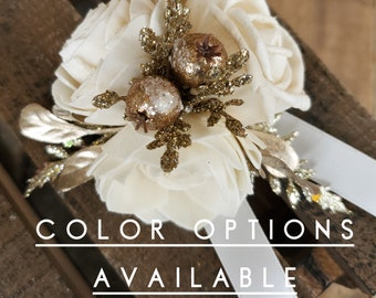 Wood Flower Wrist Corsage with Gold Glitter, mulitiple colors available