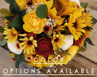 Sunflower Bouquet with Wood Flowers, mulitple colors available