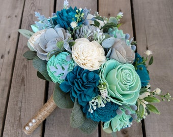 Oasis, Mint, Light Gray, and Cream Wood Flower Bouquet for Bride, Wedding, Quinceanera