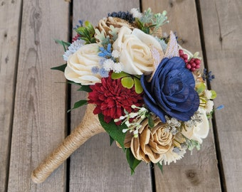 Rustic Americana Wood Flower Bouquet in Navy, Light Dusty Blue, Burgundy, Bark, and Cream with Burlap Bridal Bouquet, Wedding Flowers