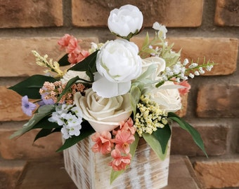 Spring Inspired Floral Arrangement with Wood and Silk Flowers, Centerpiece, Home Decor, Wedding Centerpiece, Spring Flowers, Wood Flowers