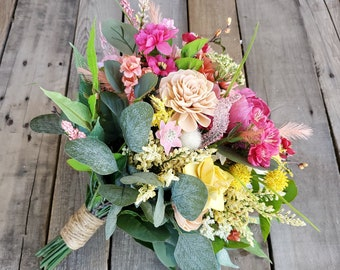 READY TO SHIP Spring Inspired Wild Flower Bouquet with Wood and Silk Flowers, Silver Dollar Eucalyptus, Bridal Bouquet, Spring Bouquet