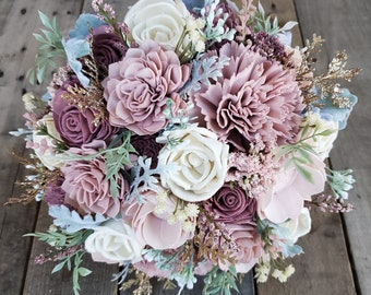 Sola Flower Bouquet Wood Flower Bouquet Dusty Rose Wedding Bouquet Mauve Wedding Bouquet Spring Wedding Bouquet Artificial Flowers