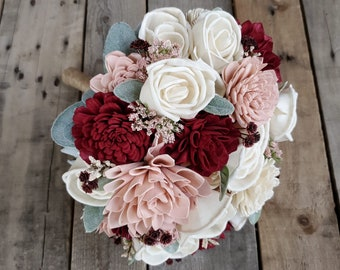 Burgundy Blush and Cream Wood Flower Bouquet