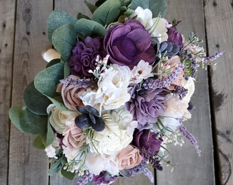 Sola Flower Bouquet Wood Flower Bouquet Lavender Bridal Bouquet Dried Flower Bouquet Wood Bouquet Lavender Wedding Bouquet Sola Wood Flowers