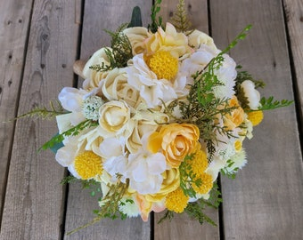 READY TO SHIP Wood Flower Bouquet with Yellow Roses, Pale Yellow Hydrangea, Fern, and Yellow Billy Balls, Bridal Bouquet, Spring Bouquet