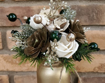 READY TO SHIP Wood Flower Mason Jar Arrangement with Wood Flowers in Cream and Pallet Wood Flowers in Gold and Cream, Gold Jar, Gold Glitter