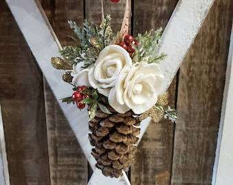 READY TO SHIP Country Christmas Pine Cone Ornament with Cream Wood Flower Accent and Gold Glitter