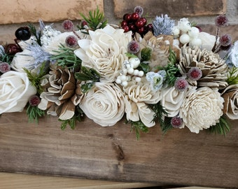 Wood Flower Christmas Centerpiece Box with Cream and Bark Flowers