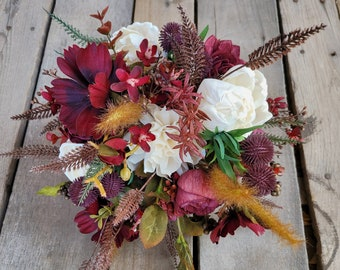 READY TO SHIP Fall Inspired Premium Wood Flower Bouquet with Burgundy Cosmos, Globe Thistle, Bridal Bouquet, Elopement, Artificial Flowers