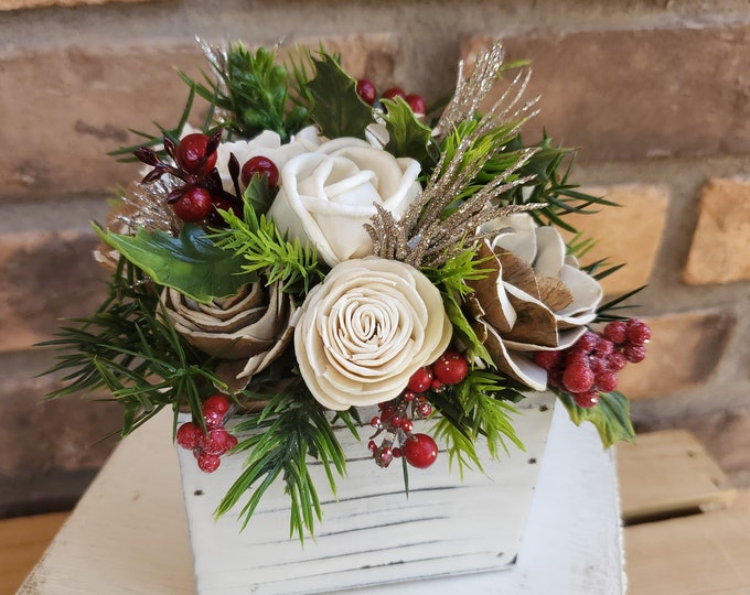 Featured listing image: Wood Flower Holiday Centerpiece Box