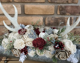 Country Christmas Centerpiece with Antlers